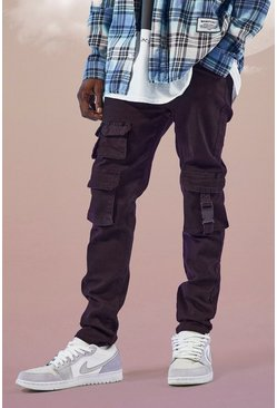 Washed black Super Skinny Stretch Multi Pocket Cargo Jean