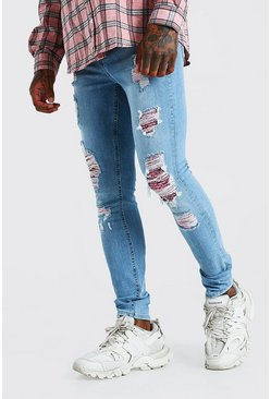 Mid blue Super Skinny Rip And Repair Bandana Jean