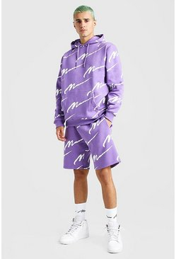 Purple All Over MAN Printed Hooded Short Tracksuit