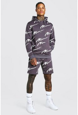 All Over MAN Printed Hooded Short Tracksuit, Slate