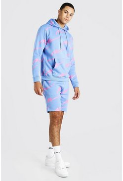 Blue All Over MAN Printed Hooded Short Tracksuit