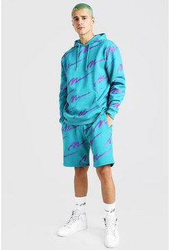 All Over MAN Printed Hooded Short Tracksuit, Teal