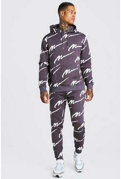 Slate All Over MAN Printed Hooded Tracksuit