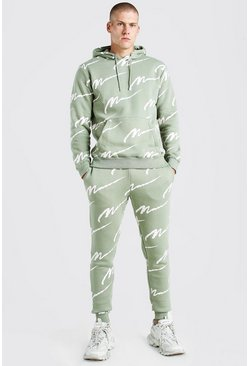 Khaki All Over Man Printed Hooded Tracksuit