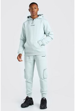 Khaki MAN Official 3D Utility Hooded Tracksuit