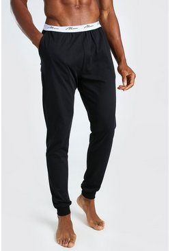 Black MAN Signature Jacquard Waistband Lounge Jogger Pant
