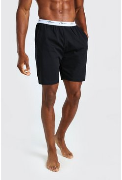 Black MAN Signature Jacquard Waistband Lounge Short