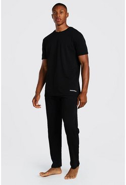 Black MAN Official Waistband Tee And Lounge Pant Set