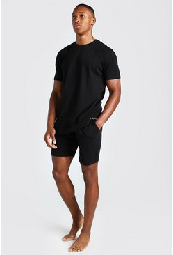 Black MAN Signature Jacquard Waistband Lounge Short Set