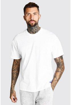 White Oversized MAN Hem Print T-Shirt