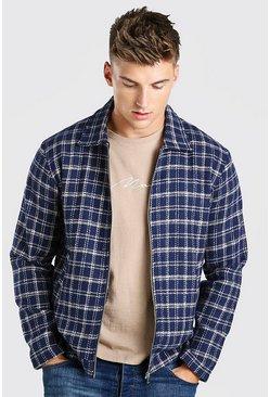 Navy Grid Check Harrington Jacket