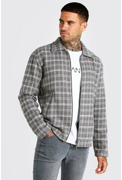Charcoal Grid Check Harrington Jacket