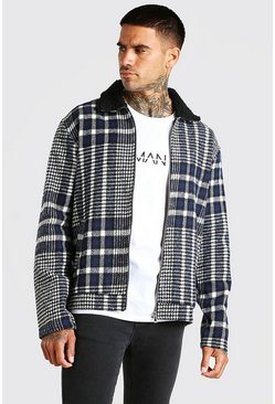 Navy Check borg collar harrington jacket