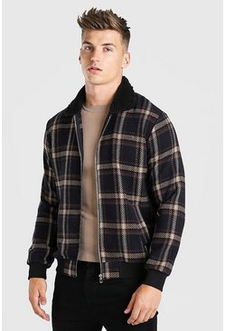 Black Check borg collar bomber jacket