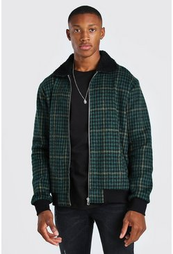 Forest Check Borg Collar Unlined Bomber Jacket
