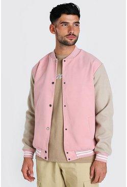Pink Melton contrast sleeve varsity bomber