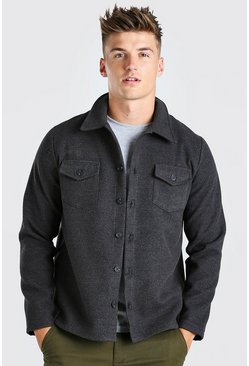 Charcoal Melton Button Through Unlined Trucker Jacket
