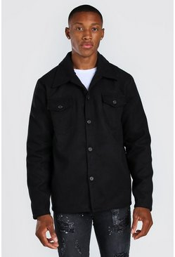 Black Melton Button Through Unlined Trucker Jacket