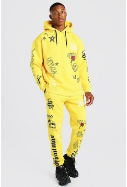 Oversized Graffiti Print Hooded Tracksuit, Yellow