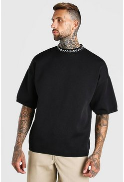 Black MAN Dash Oversized Knitted T-Shirt