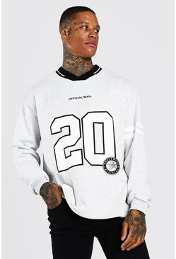 Grey Oversized Official 20 Polo Sweatshirt