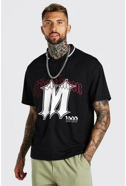 Black Oversized Airtex Official 20 T-Shirt