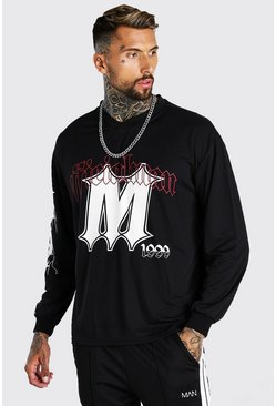 Black Oversized Airtex Official 20 Long Sleeve T-Shirt