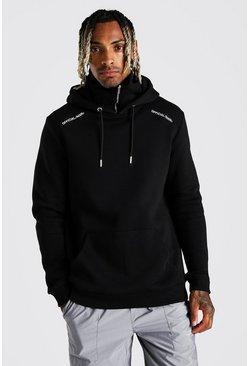 Black Official MAN Zip Snood Hoodie