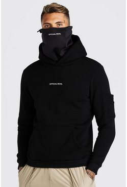 Black Official MAN Tech Scuba Snood Hoodie