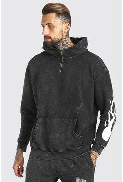 Charcoal Oversized Acid Wash Hoodie With Sleeve Print