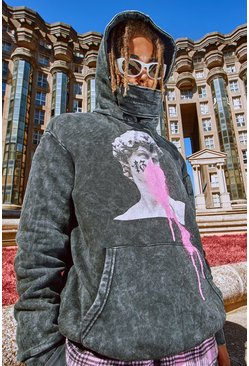 Charcoal Oversized Acid Wash Hoodie With Graphic Print