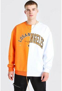 Orange Oversized Spliced Varsity Sweatshirt