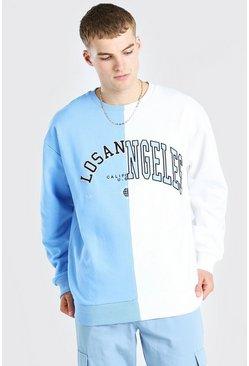 Pale blue Oversized Spliced Varsity Sweatshirt