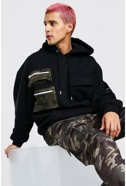 Black Oversized Camo Pocket Utility Hoodie