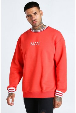 Red Oversized Original MAN Sports Rib Sweatshirt