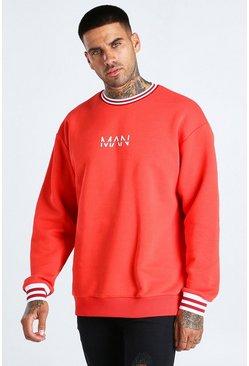 Red Oversized Original MAN Sports Rib Sweatshirt