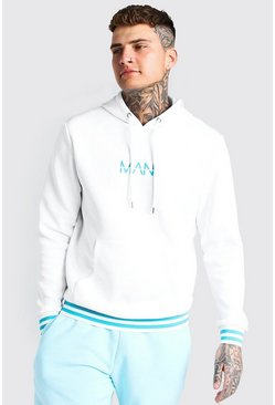 White Original MAN Sports Rib Hoodie