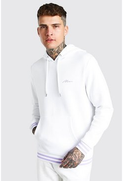 White MAN Signature Sports Rib Hoodie