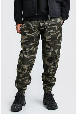 Khaki MAN Official 3D Pocket Camo Cargo Trouser