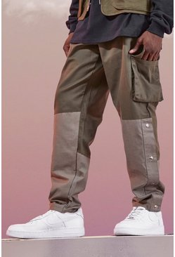 Khaki Man Colour Block Cargo Pants With Poppers