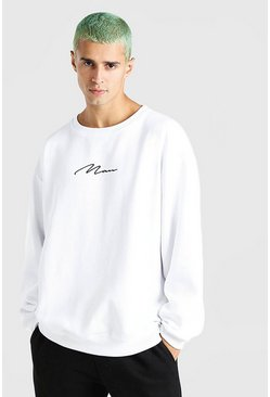 White MAN Signature Embroidered Oversized Sweat