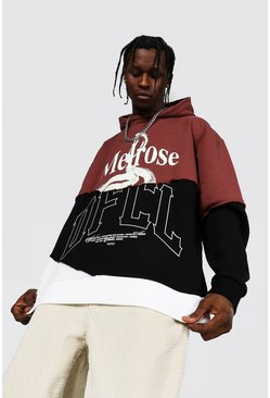Brown Oversized Melrose Ofcl Spliced Hoodie