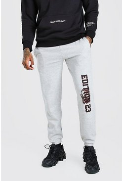 Regular Fit Jogginghose mit Bein-Print, Grau meliert