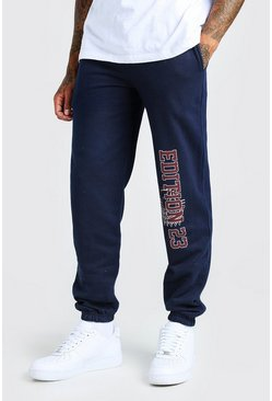 Navy Regular Fit Jogger With Leg Print