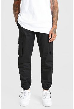 Black Twill Cargo Pants With Rubber Tab Detail