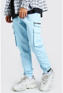 Blue MAN Twill Cargo Trouser With Rubber Ankle Detail