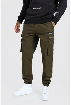 Khaki MAN Twill Cargo Trouser With Rubber Ankle Detail