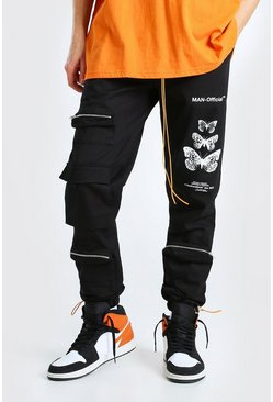 Black MAN Official Twill Cargo Butterfly Print Trouser