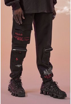 Black MAN Official Graffiti Print Cargo Trouser
