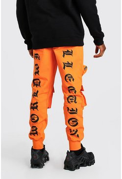 Pantalon cargo imprimé Worldwide MAN, Orange